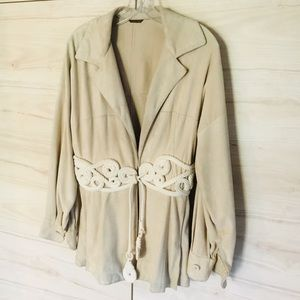 Gianfranco Ferre suede embroidered jacket.